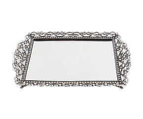Vassoio in metallo e vetro specchiato Lisa - 30x19 cm