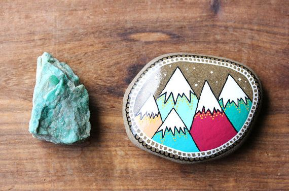 Mountain Painted Rock, Medium Hand-Painted Stone, Painted Mountains, Teal and Pink Mountains, Painted Rock Paperweight