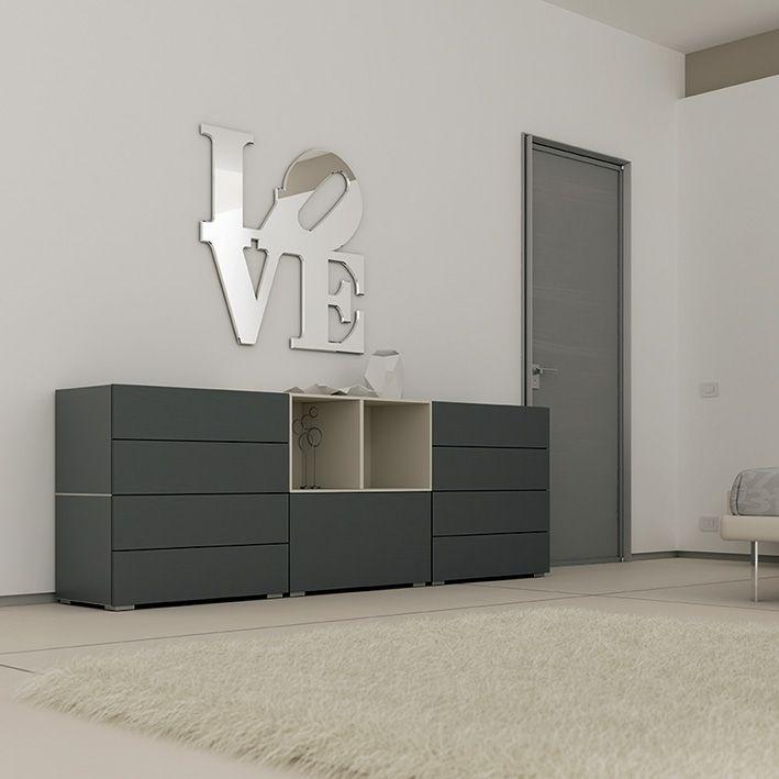 #Cassettiera formata da #Wallbox sovrapposti con cassetti push-pull laccati grafite e corda. YC37 catalogo Team for Young www.moretticompact.com