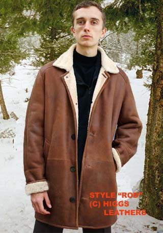 Higgs Leathers  Rod (3/4 length mens shearling coats)