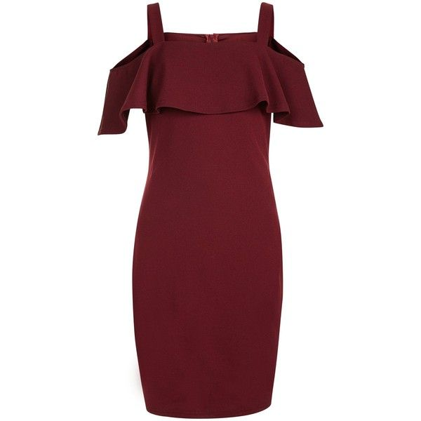 New Look Teens Burgundy Bardot Neck Frill Trim Bodycon Dress (£18) ❤ liked on Polyvore featuring dresses, burgundy, ruffle dress, red party dresses, red bodycon dress, day party dresses and burgundy bodycon dress