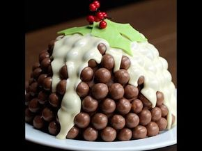Malteser Christmas Pudding Bomb - a sort of Rocky Road type cake - no cooking - great for children to have a go.