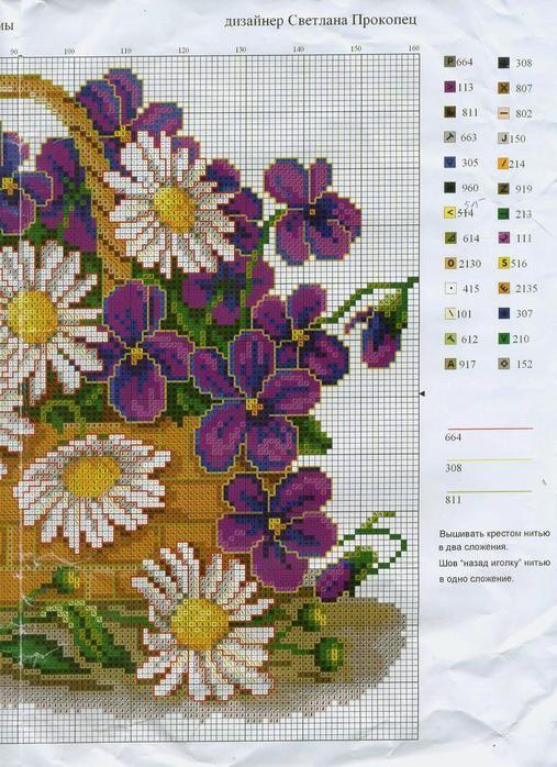 Cross-stitch Basket full of Daisies, part 2... Gallery.ru / Фото #1 - 9 - irisha-ira