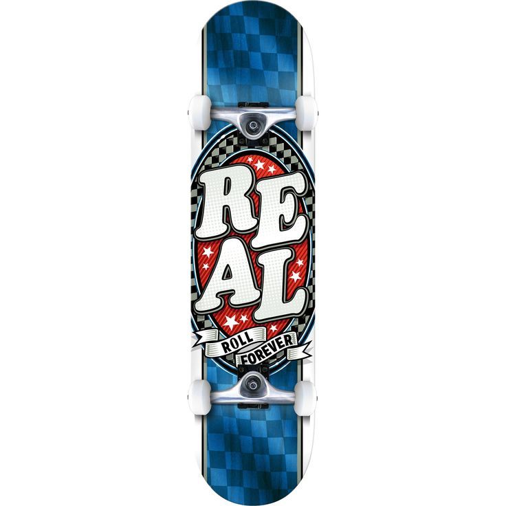 "Real Skateboards Start Today Medium Blue / Red Complete Skateboard - 7.75"" x 31.6"". One (1) Real Skateboards Start Today Medium Complete from Real Skateboards. Deck Size: 7.75"" x 31.6"". Factory assembled by Real Skateboards Skateboards and ready to skate. Includes trucks, wheels, bearings, hardware, and grip tape."