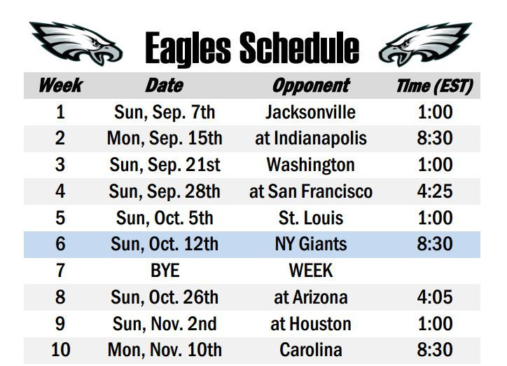 New Printable #Eagles Schedule