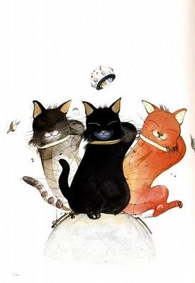 Yoshitaka Amano - 3 fat catsCat Art, Feline Art, Amano Yoshitaka 76017, Amano Gallery, Feline Illustration, Fat Cats Lov, Amano Art, Amano Imagine, Yoshitaka Amano 124122 Jpg