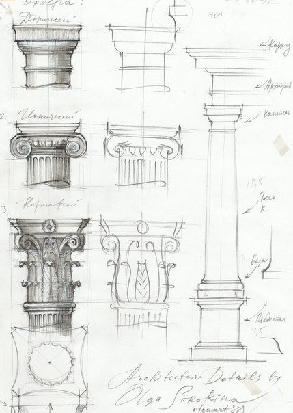 Architecture details sketch markers 4.jpg Order architecture doric ionic corinthian tuscan and composite, style column drawing. The Five Orders of Architecture. Classical order