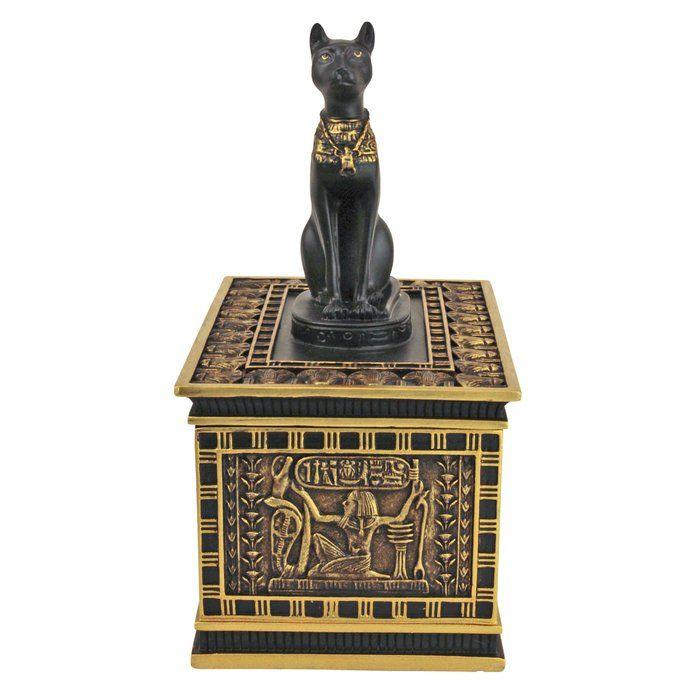 Design Toscano Royal Bastet Egyptian Box in Gold and Ebony