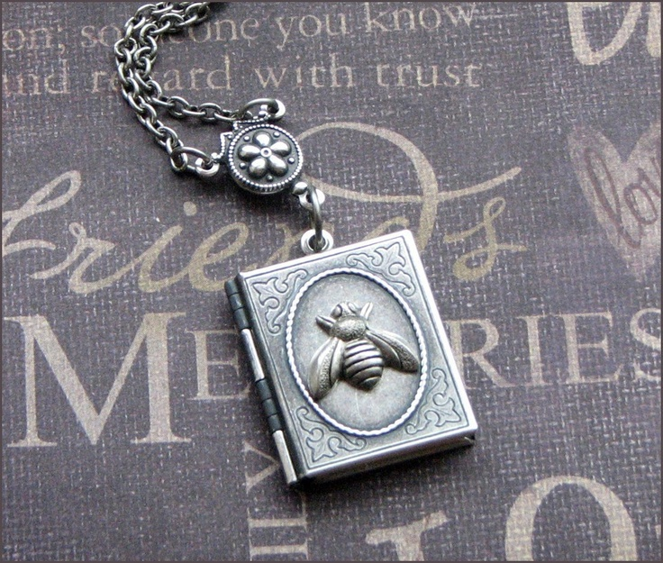 Silver Book Locket Necklace- Enchanted Beekeepers Journal - Handmade by TheEnchantedLocket. $26.00, via Etsy.