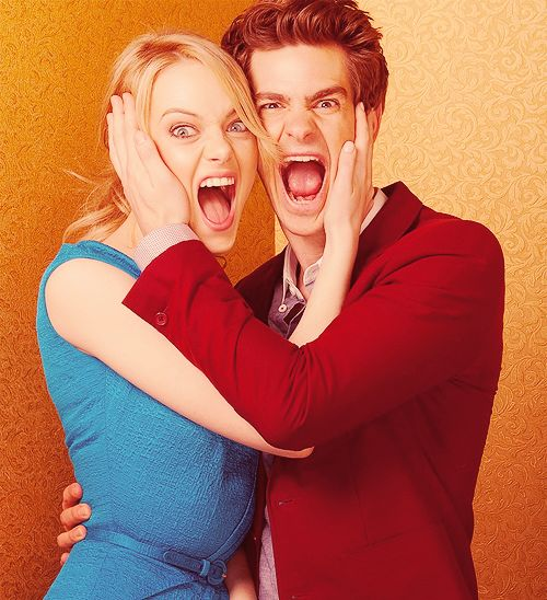 so cute! screw fairy tale love. i want a love like emma stone and andrew garfield.