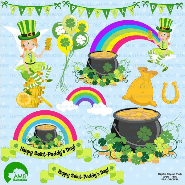 80%OFF St Patrick's Day clipart St Patricks Day Irish clipart Shamrock vector graphics digital clip art instant download AMB-1184