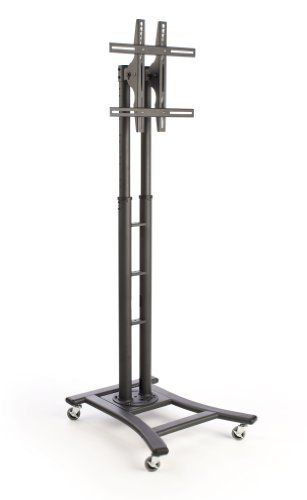 Mobile TV Stand with Wheels for LCD, Plasma or LED Monitors Between 32 and 60 inches, Height-Adjustable - Black by Mobile Tv. $271.43. This mobile TV stand has a height-adjustable design with 8 preset positions at which a monitor is set. The floor-standing fixture ranges in height from 44 to 71.5 inches tall! The mobile TV stand is designed to hold a flat-screen television between 32 and 60 inches in size that weighs no more than 110 pounds. This portable monitor display ...