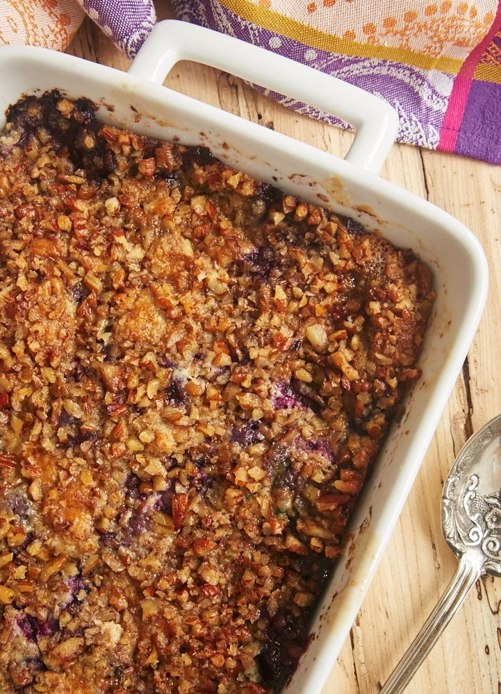 No cake mix here! This sweet, tart, nutty Blueberry Pineapple Dump Cake is made from scratch. Such a great quick and easy dessert! - Bake or Break ~ http://www.bakeorbreak.com