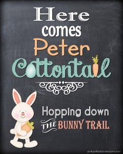 "See if you can go without singing it...!! :) ""Here Comes Peter Cottontail"" Printable from Pink Polka Dot Creations"