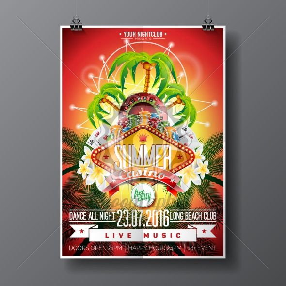 Vector Party Flyer design on a Casino theme with roulette wheel and game cards on palm background. - Royalty Free Vector Illustration