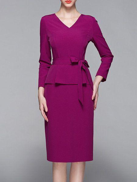 Shop Midi Dresses - Fuchsia Long Sleeve V Neck Paneled Sheath Midi Dress online. Discover unique designers fashion at StyleWe.com.