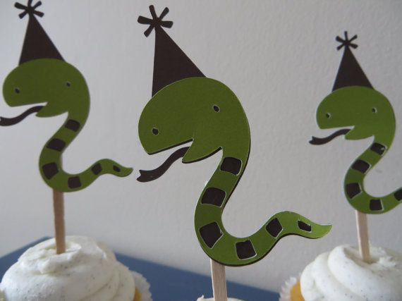 Snake Party Pick Cupcake Toppers  Hand Punched  by PartyPower, $6.50