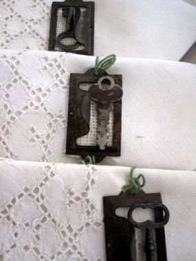 Fancy napkins meet industrial napkin rings. Happy newlyweds!