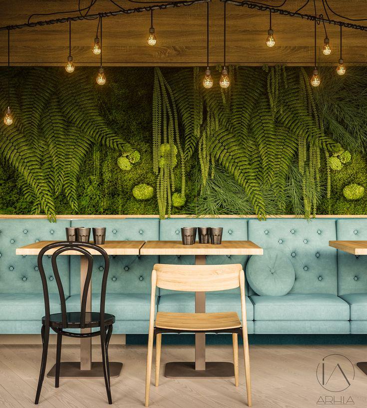 Pub design ❤️ @arhia_architecture  design lovers  greenwall restaurant design cozy colors