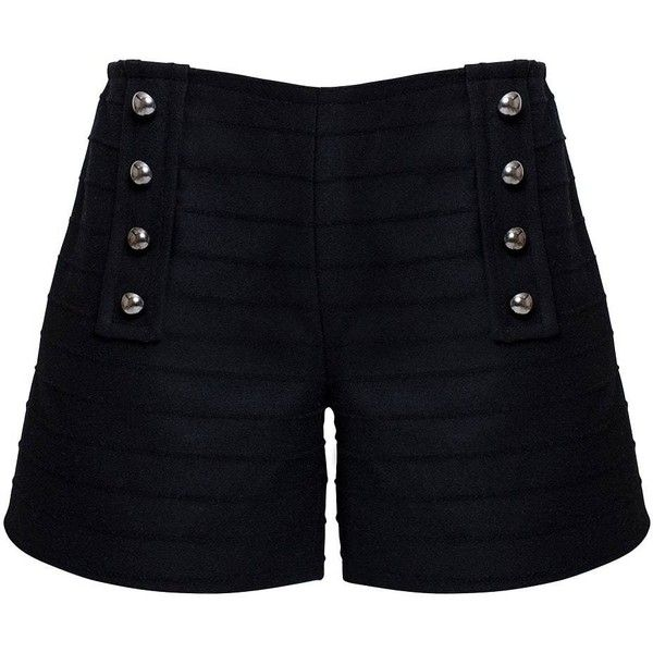 Rumour London - ELLE Wool & Cashmere Shorts (212 AUD) ❤ liked on Polyvore featuring shorts, military shorts, wool shorts and seamless shorts