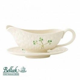 Belleek Irish Pottery Gravy Boat & Stand