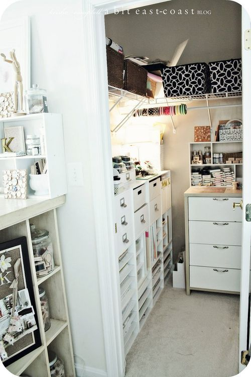 17 best images about favorite places spaces on pinterest lakes craft room closet and closet - Small space craft room model ...