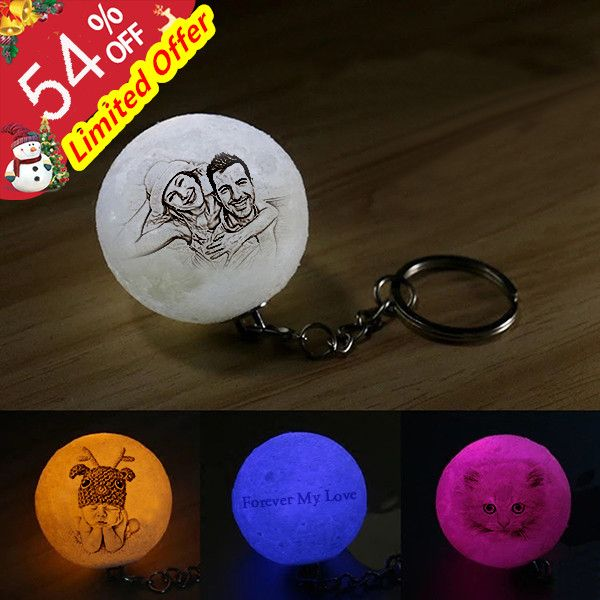 Personalized Photo 3d Moon Lamp Keychain Keychain My Love Personalised