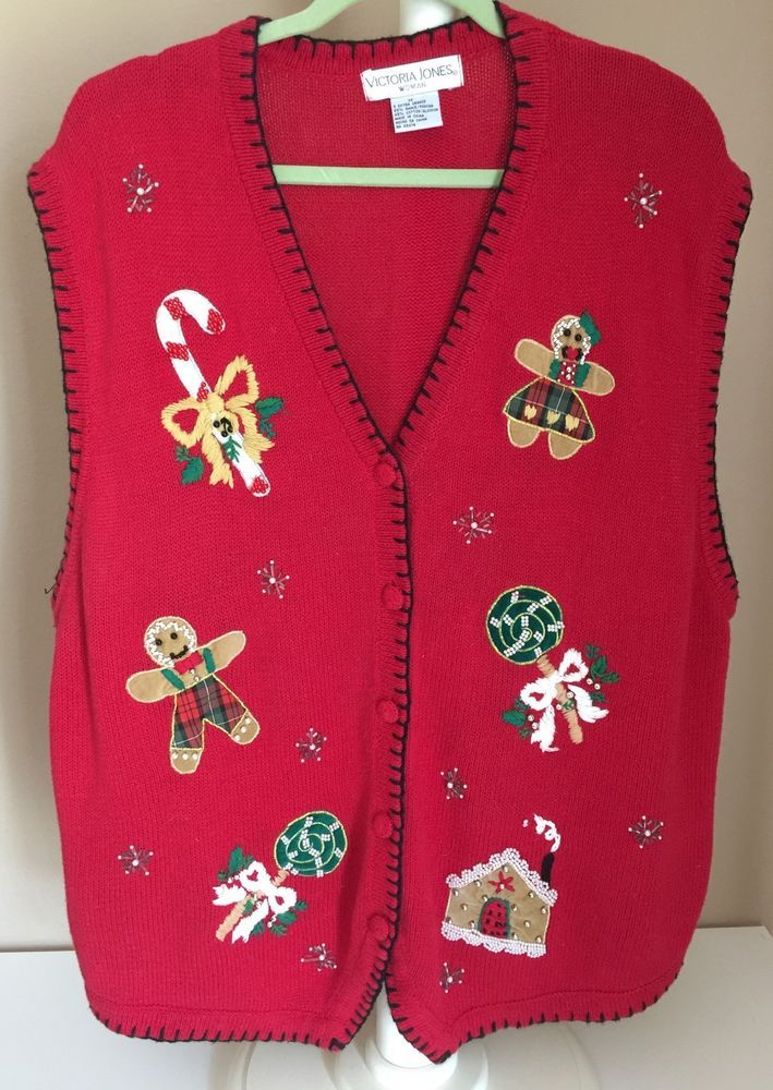 Victoria Jones Woman 3X Red Christmas Holiday Sweater Vest Pearl Embellished #VictoriaJonesWoman