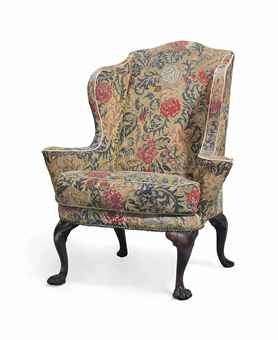 A George Ii Mahogany Wing Armchair Circa 1745 Upholstered