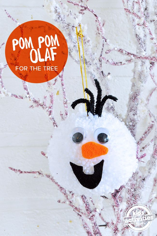 Olaf Frozen Pom Pom – DIY Xmas Tree Decoration - what a simple and fun winter craft for kids!