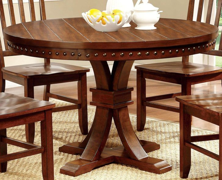 Furniture Of America Castile Transitional Round Dining Table Dark Oak