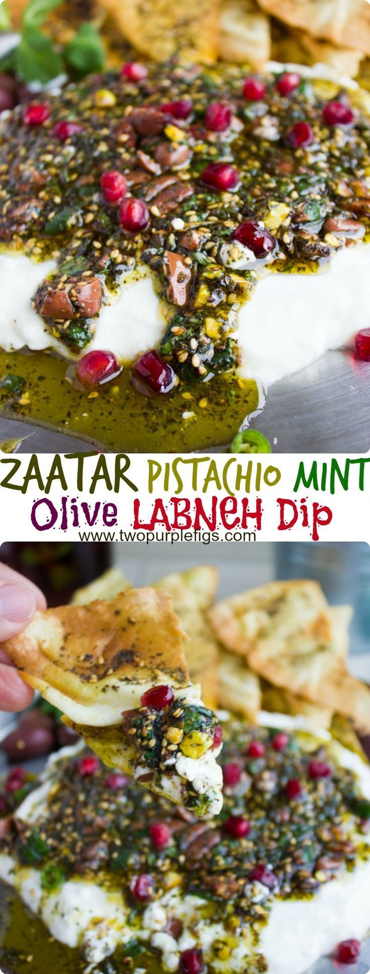 Labneh Dip with Zaatar Pistachio Mint Olive Topping. This the BEST lightest and most flavorful way to do a DIP! Use Greek yogurt for a quick substitute, and pile up the sweet, crunchy, spicy,toasty and salty--ABSOLUTELY delicious! Get the recipe for this dip, Zaatar chips and labneh from scratch! http://www.twopurplefigs.com