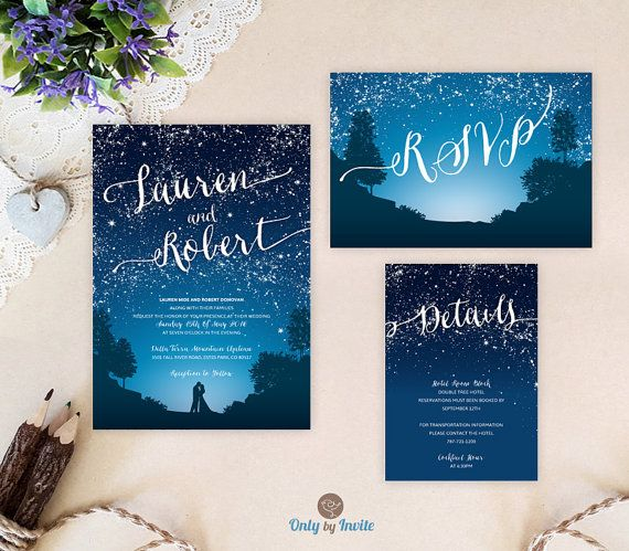 starry night wedding invitation set blue mountain wedding invitations printed cheap wedding sets - Cheap Wedding Invitation Kits