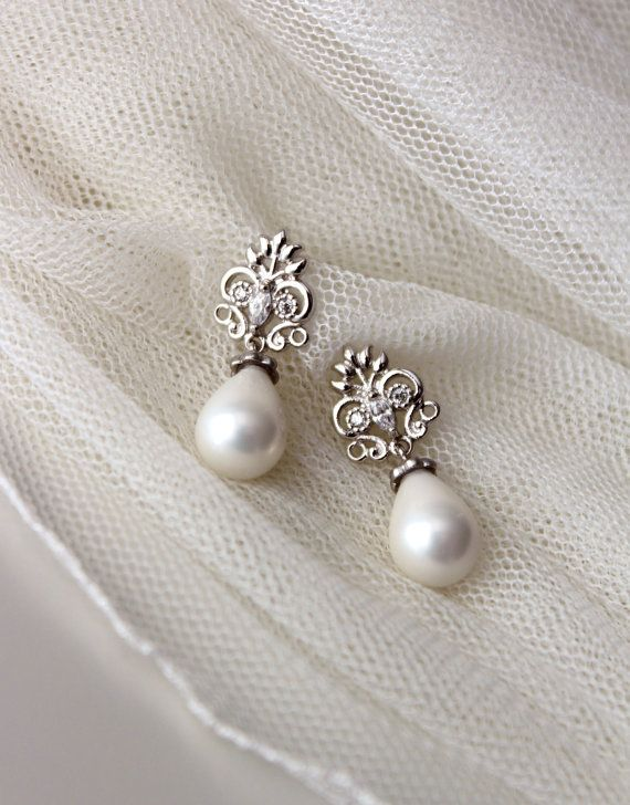 Pearl Bridal Earrings Vintage Style Earrings Wedding Jewelry Teardrop Pearl Earrings Filigree CZ Earrings Silver Post Gift for Mom