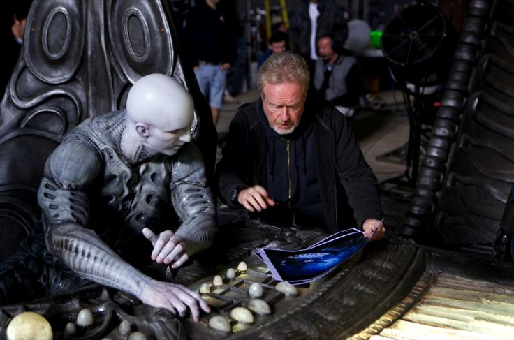 Ridley Scott and Ian Whyte behind the scenes on Prometheus (2012)
