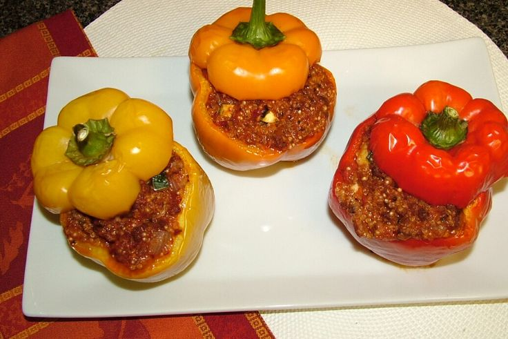 Stuffed peppers that are good to eat on the Advocare 24 day challenge.  I used brown rice instead of cauliflower and  baked them in the oven. I would say I cooked it on 375 for about an hour.  Just make sure they are done!  lol  And I only used half of what the recipe called for but 3 peppers!
