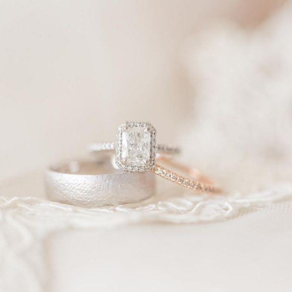 Beautiful radiant-cut ring with a halo of diamonds || Alyssa Nichols of Ryan and Alyssa