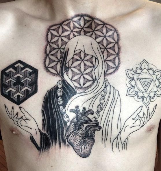 2Spirit Tattoo_2nd session by Mike! Design, photo and tattoo by Mike Bennett.  //Totally reminds me of Bring Me The Horizon's album There Is A Hell... but also a combination of their new album Sempiternal.