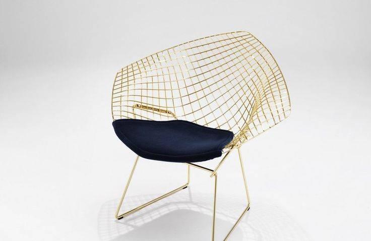KNOLL NEW COLLECTIONS AND ICONIC PRODUCTS AT SALONE DEL MOBILE 2016 #salonedelmobile2016 Diamond_Chair Gold By Harry Bertoia_0227