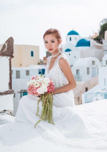 Santorini Prewedding Photoshoot with Camille Co - gown Monique Lhuillier