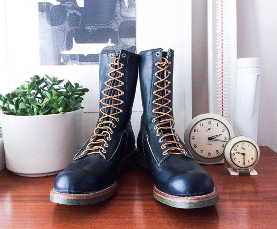 Rare Red Wing Logger Boots New Old Stock Size 12 E Black Leather 1960s Style 919 Deadstock Steel Toe