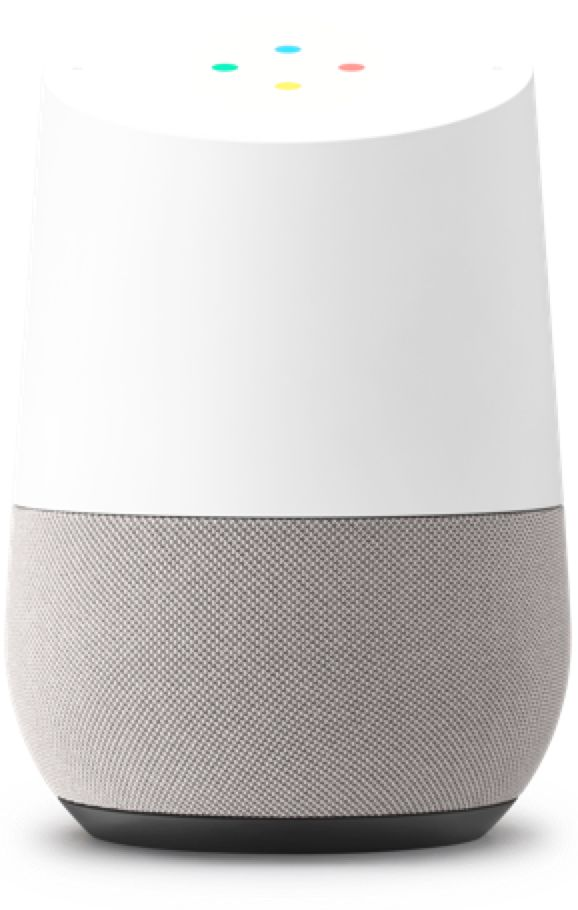 Google Home speaker, similar to the amazon echo but compatible with Google technology and cheaper