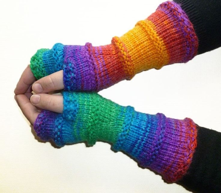 Fingerless Gloves Mittens Mismatched Arm Warmers Multicolored Hand Knit Mittens Girls Gloves Women Mittens Boho (33.00 USD) by handicraftland