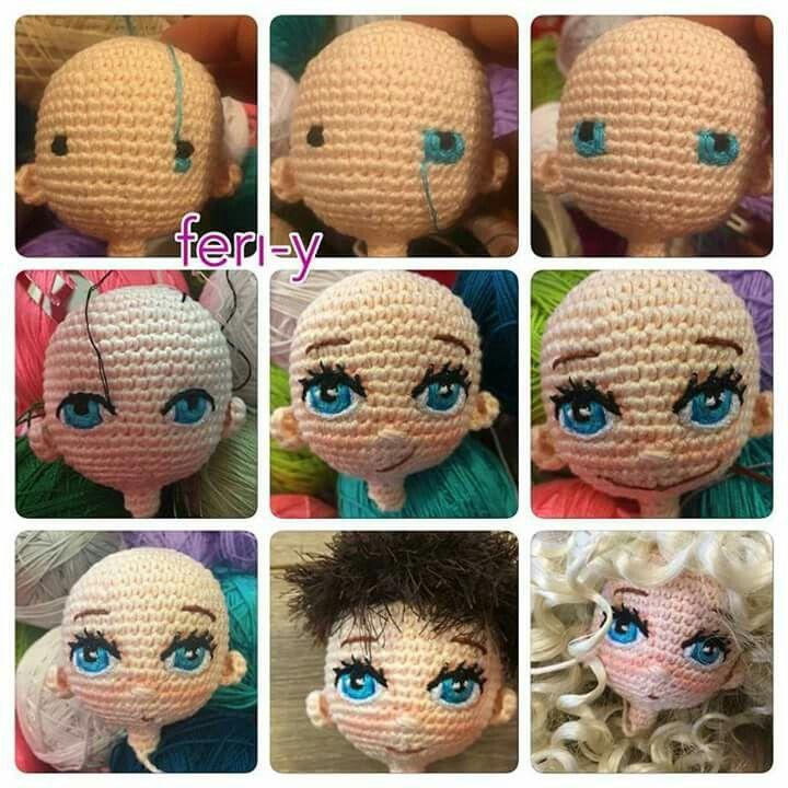 Occhi. Crochet FacesAmigurumi TutorialAmigurumi DollCrochet ...