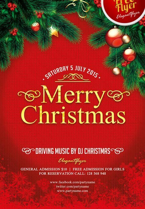 Merry Christmas Free PSD Flyer Template  design  Free