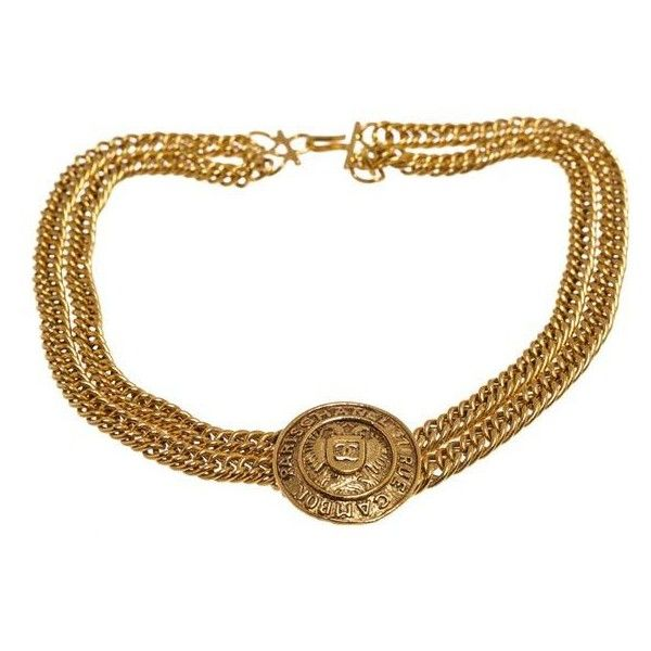 Pre-Owned Chanel Gold Medallion Double Chain Choker Vintage Necklace ($805) ❤ liked on Polyvore featuring jewelry, necklaces, multi, gold choker necklace, medallion necklace, gold medallion necklace, gold medallion and gold jewellery