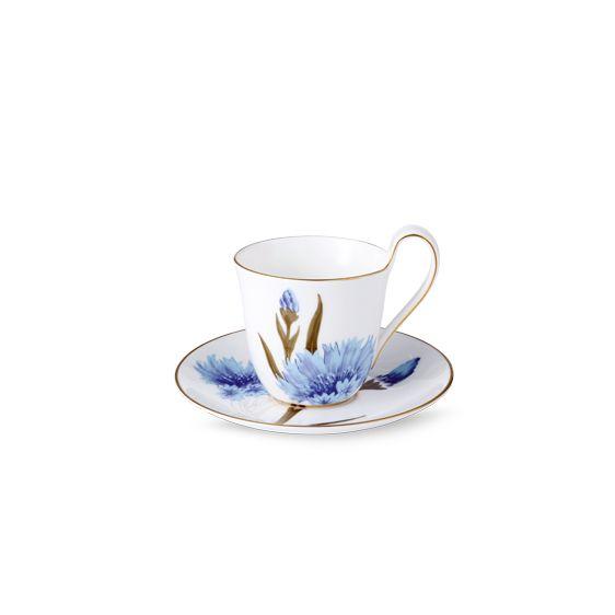"Royal Copenhagen ""Flora"" Range Cup and Saucer: Cornflower Designed by Anja Vang Kragh (2012)"