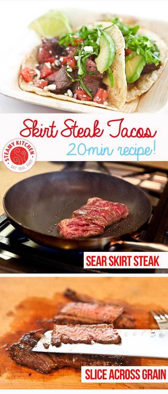 Skirt Steak Tacos Recipe + secret tip to the MOST tender skirt steak!| steamykitchen.com ~ http://steamykitchen.com