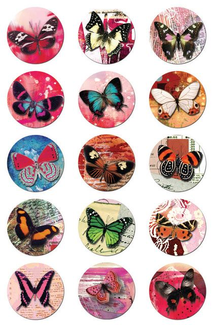 Imprimolandia: Circle butterfly collage