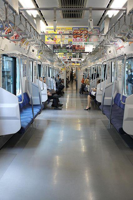 Typical subway car in Tokyo, Japan.